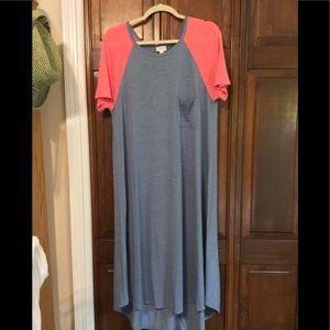 LuLaRoe Carly XL Denim Blue Pink Sleeves